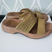 Dansko Green Laser Cut Leather Slide Sandals Open Toe Womens Sz 40 Shoes... - $24.74