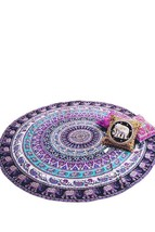 Phuket Island Elephant Print Round Beach Blanket Boho Tapestry - $322,43 MXN