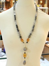 18K YELLOW GOLD LONG NECKLACE AMBER LABRADORITE QUARTZ POTTERY HAND PAINTED STAR image 2