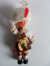 "Vintage PLASTIC DOLL/ORNAMENT 4 "" WITH JOINTED ARMS Scottish Scottland - $15.76"