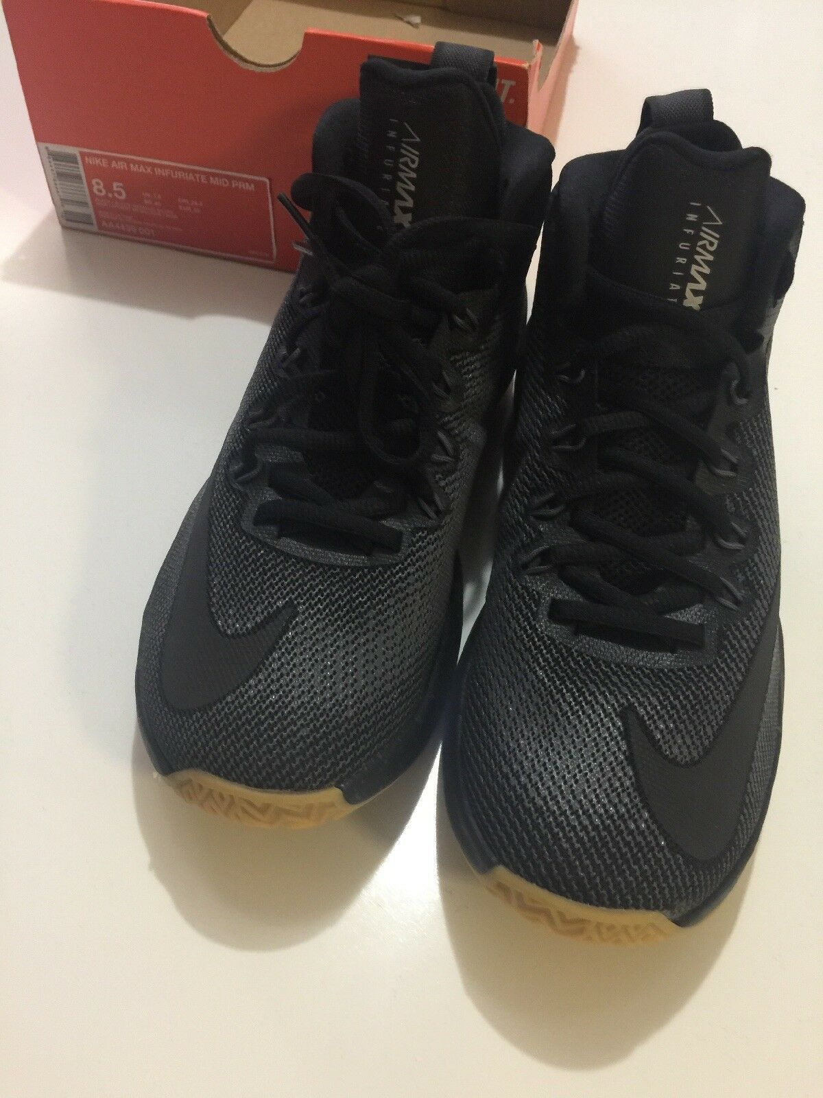 NIKE AIR MAX INFURIATE MID PRM MENS SHOES AA4439 001 Size 8.5 WITH BOX No Top