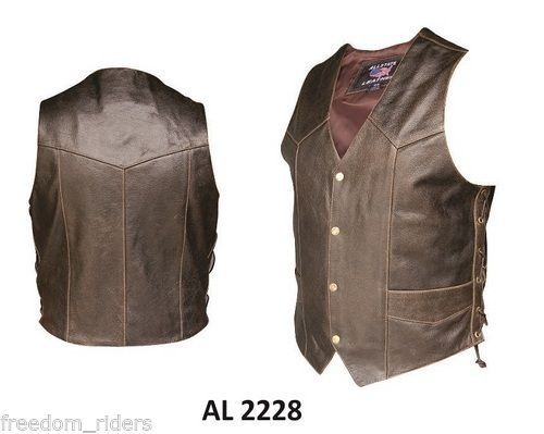 Mens Retro Brown Buffalo Leather Western Vest Motorcycle Vest Side Lace