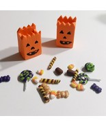 Dollhouse Miniature Trick Or Treat Pumpkin Bags And Candy Clay Halloween... - $7.50