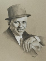Frank Sinatra Portrait Original Charcoal Drawing Unframed Signed Talbot - $60.00