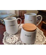 Circa Liquidlines Glossy White Stoneware Milk Cream Sugar Labeled 3pc Se... - $23.00
