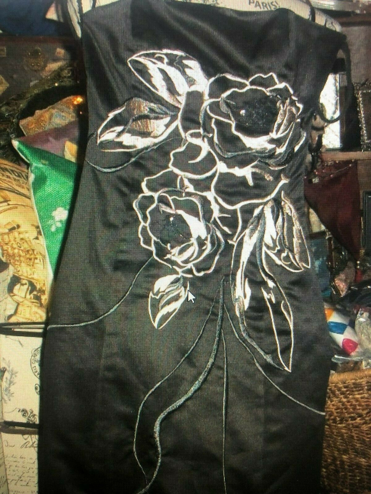 WHITE HOUSE BLACK MARKET Fabulous Midnight Black Satin Embroidered Dress Size 0 image 1