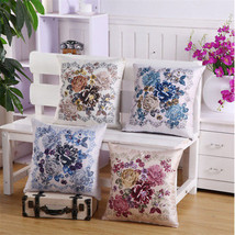 """17"""" Vintage Double-sided Printing Flowers Bamboo Linen Sofa Decor Cushion Cover - $3.77"""