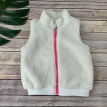 Gap Kids Girls Sherpa Vest Size S Cream White Pink Zipper Front Cozy - $21.77