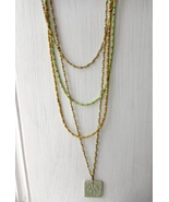long multi-row boho handmade seed beads necklace with pendant dragonfly.  - $35.00