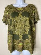 White Stag Womens Size XL Green Boho Mandala Pattern T-Shirt Short Sleeve - $11.88