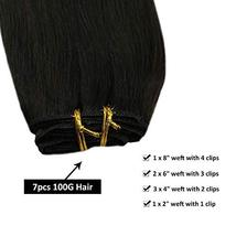 【New Year Gift】Ugeat 14 Inch Clip in Black Human Hair Extensions 120g 7PCS Thick image 5