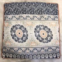Pottery Barn Square Navy Blue & Orange Single Pillow Sham 25 x 25 - $38.86
