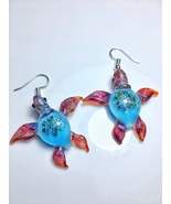 Glass turtle earrings amber purple with ocean colored flower shell  - $65.00
