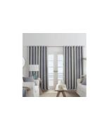 (1) NEW JCPENNEY Sullivan Stripe Chambray Multi Blackout Grommet Curtain... - $29.69
