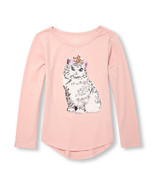 Size 16 Pink Sequined Cat Motif Long Sleeve Graphic Tee/NWT/The Children... - $25.98 CAD