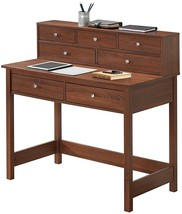 Writing Desk with Drawers Small Table w Hutch Hall Entryway Storage Furn... - $161.36