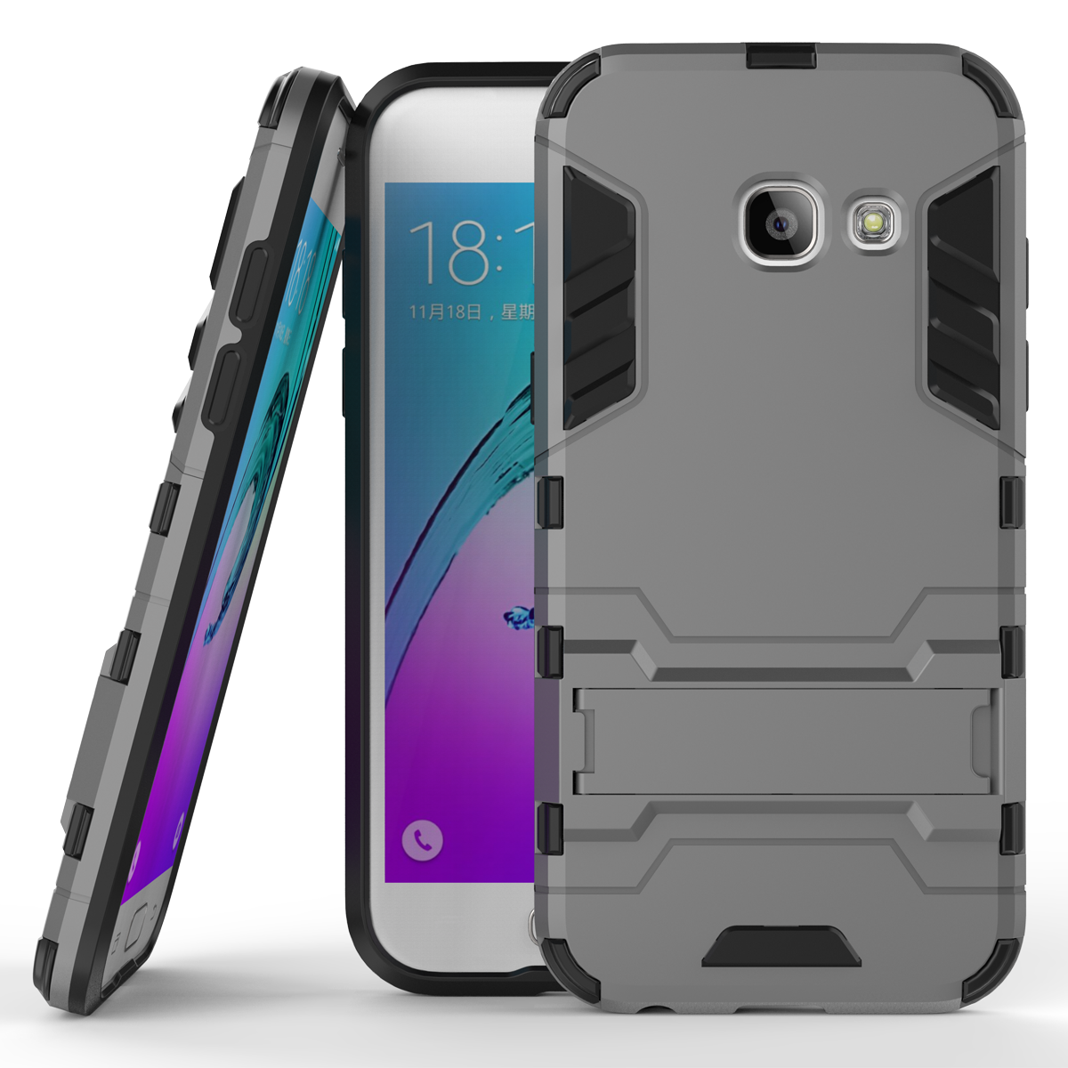 Or kickstand protective cover case for samsung galaxy j3 2017 j3 emerge gray p201701181411103240