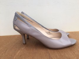 Nine West WANDAO Peep Open Toe Pumps Heels Shoes Light Gray  Leather Size 10 M - $27.00