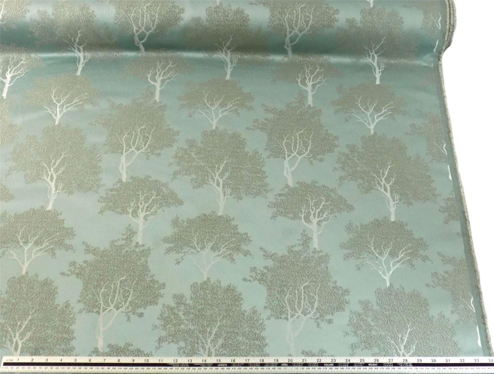 Slub Effect Duck Egg Blue Silver Embroidered Trees Fabric Material *2 Sizes*