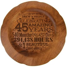 45th Wedding Anniversary Decorative 12 inch Round Plate for Special Couple - $79.99