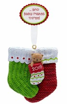 Hallmark  Baby Makes Three  Bear in Three Stockings   Keepsake Ornament ... - $17.41