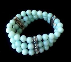 "KIRKS FOLLY ""Peace Paradise Love"" Blue Glass Beaded 3 Strand BRACELET - ... - $85.00"