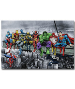 Justice League Superheroes Poster Pop Culture Lunch Atop a Skyscraper  - $5.06+