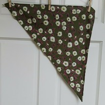 Vintage Triangle Handkerchief green with flowers - $15.06