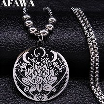 2019 Wicca Lotus Stainless Steel Necklaces Pendants for Men Black Silver... - $16.79