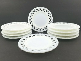 """10 Westmoreland Forget Me Not Milk Glass 8 1/2"""" Luncheon Plates Mid Cent... - $128.37"""