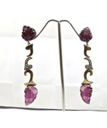 PINK TOURMALINE CARVED LEAVES DIAMOND 18K GOLD  925 SILVER VICTORIAN EAR... - $459.80