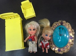 Mattel Vintage Liddle Kiddles Doll Lot Accessories 2 Dolls Locket Bed Chair - $11.99
