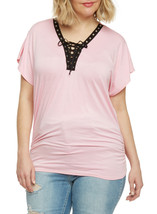 CUTE NEW WOMENS PLUS SIZE 3X LIGHT PINK LACE UP GROMMET SHIRT TOP W RUCH... - $16.44