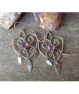 Amethyst heart earrings, sterling silver wire earrings, genuine amethyst... - $75.00