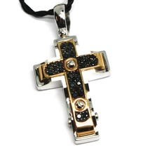 SOLID 18K WHITE & ROSE GOLD CROSS PENDANT 30mm, ROUNDED SQUARES BLACK ZIRCONIA image 2