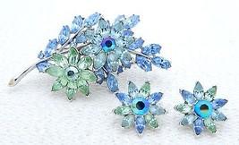 VTG 1950s CROWN TRIFARI Silver Tone Blue Green Rhinestone Pin Brooch Ear... - $173.25