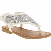 Garanimals Infant Toddler Girls Rhinestone Flip Flop Sandals Size 2 White  - $11.87