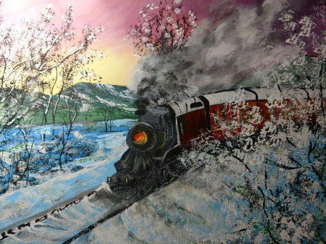 Primary image for 16 x 20 Original Canvas Painting...Snow Train