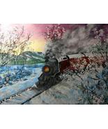 16 x 20 Original Canvas Painting...Snow Train - $42.00