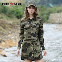 Camouflage Long Section Shirt Women Long Sleeve Clothing Top Quality Slim Fit - $33.99