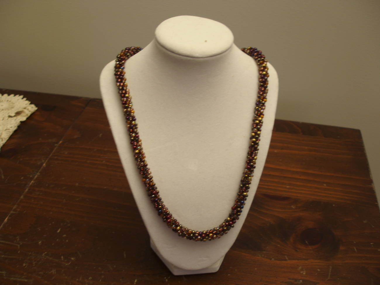 Kumihimo Beaded Necklace 23.5 inches In brown, amber, gold tones