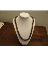Kumihimo Beaded Necklace 23.5 inches In brown, amber, gold tones - $65.00