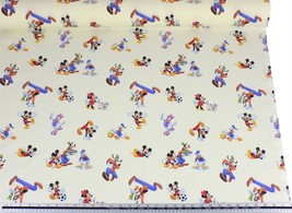 Disney Cream Mickey & Friends 100% Cotton High Quality Fabric Material 3... - $3.02