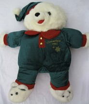VTG Snowflake Teddy Bear Christmas 1993 White Plush Boy Stuffed Toy 22 inch - $65.00
