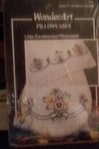 Wonder Art Pillow Case Set Embroidery Kit ' Pansy Delight  ' NIP 20x30 p... - $12.19