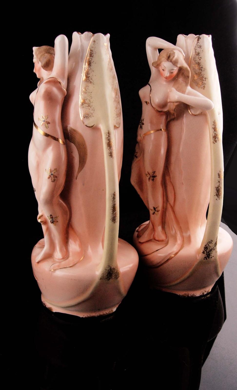 Antique Nude Pair - erotic  Alfonzo Mucha women - art nouveau statues - Vintage