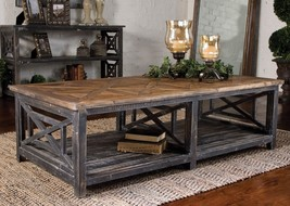"NEW 56"" AGED BLACK SOLID RECLAIMED FIR WOOD COFFEE COCKTAIL TABLE WORN B... - $803.00"