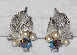 Aurora Borealis RS, Pearls Leaf Design Earrings - $8.00