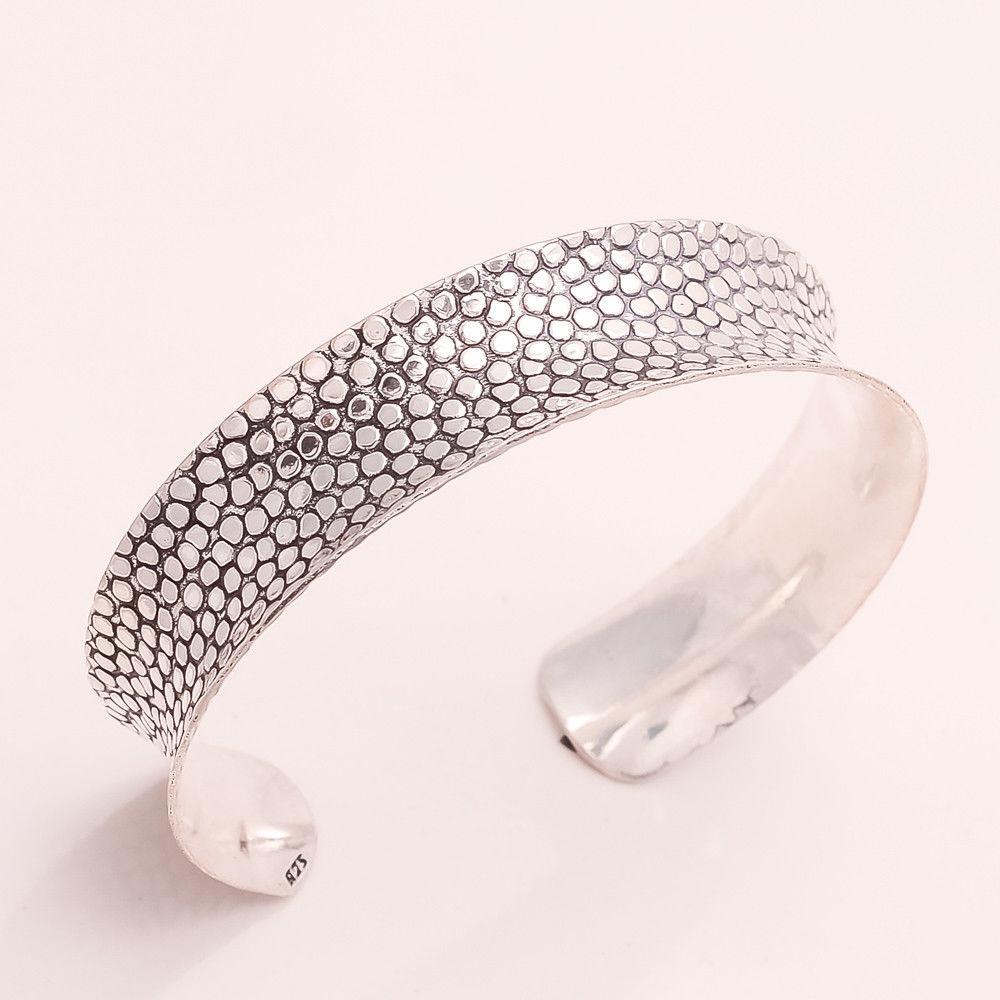 925 Soild Sterling Silver Handcuff Snake Skin Fine Unisex Bohemian Jewelry Gifts