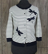 New Talbots Cardigan Sweater S size Blue Ivory Striped Dragonfly Womens $69.99 - $44.29